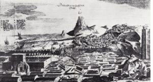 Общий вид Дербента в 1638 г. Гравюра из книги А. Олеария