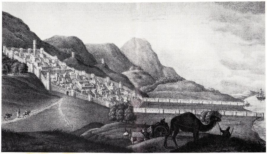 Дербент в 1796 г. Рисунок из книги Эйхвальда