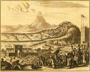 Вид города Дербента. Adam Olearius.